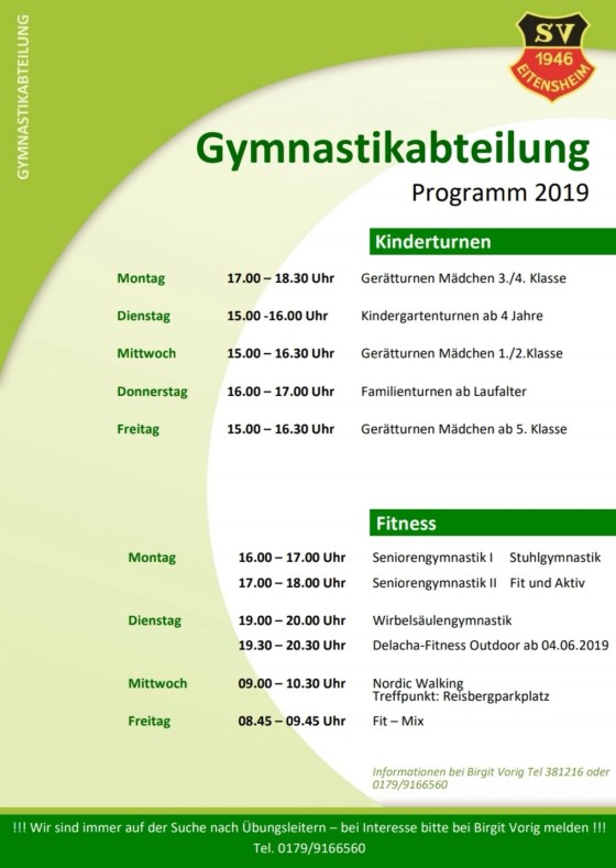 Gymnastikabteilung-Programm